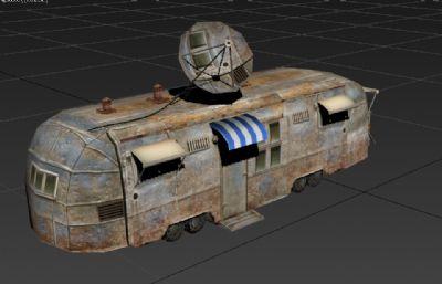 游戏场景中的废旧车辆,信号车3D模型