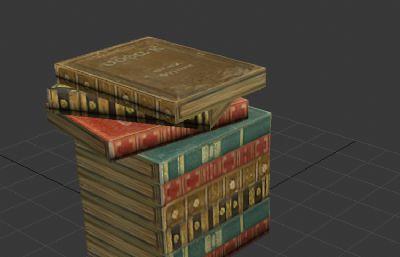 游戲場景中的歐式書籍3D模型