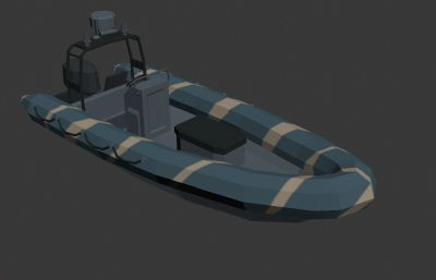 Low Poly快艇登�艇3D模型