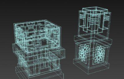 中式灯两组,景观地灯3D模型,MAX,FBX格式