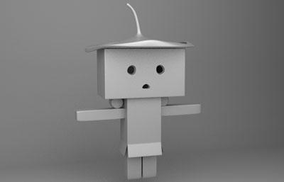 纸盒人,卡通小人maya模型白模