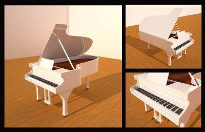 音乐世界写实钢琴C4D模型