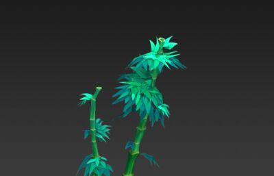 Q版竹子手�L�N�D竹子3D模型