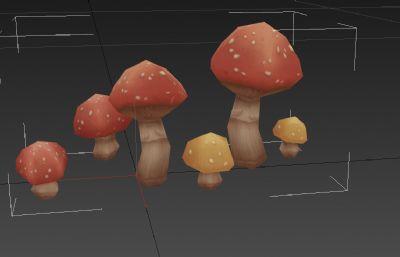 3D卡通手�L蘑菇模型
