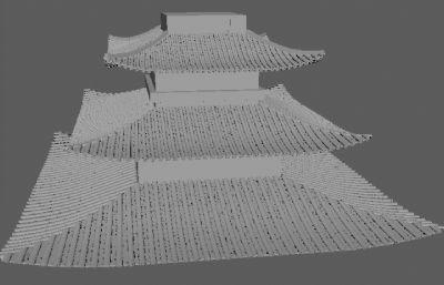 古代四方屋�精�maya模型