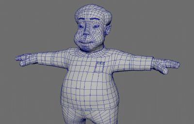 憨厚的卡通男人人物maya模型