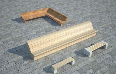 公园座椅,坐凳,景观休闲小品3D模型,MAX,FBX格式
