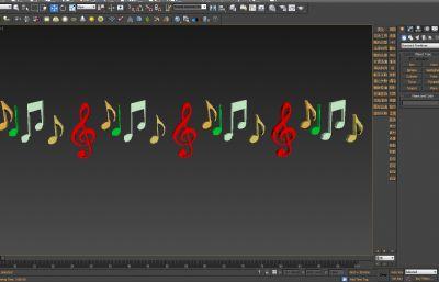 五线谱音符3D模型,MAX,FBX,3DS三种格式