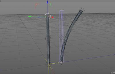 带简易绑定的长条弹簧C4D模型