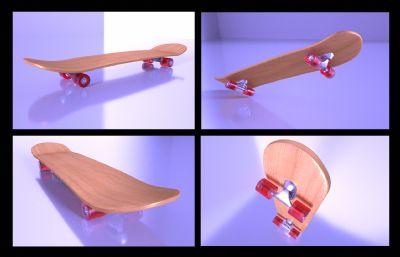 真实质感的滑板C4D模型