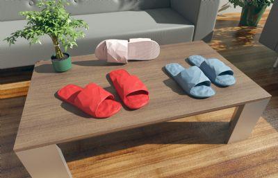 茶几上的拖鞋,凉鞋,家具场景3D模型