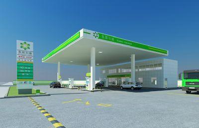 CQ�|部石油加油站3D模型