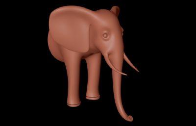 卡通大象前半身C4D模型
