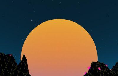 山谷升起的大月亮�鼍�C4D模型