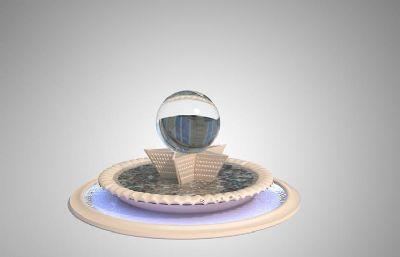 水晶球五角星��泉雕塑�O�3D模型