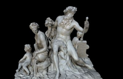 孤�u一家人雕塑OBJ模型