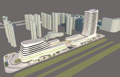 商场,公司个性办公大楼su模型