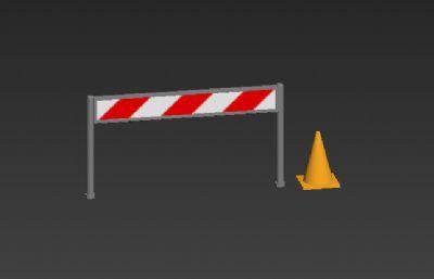 安全护栏与安全桩3D模型简模