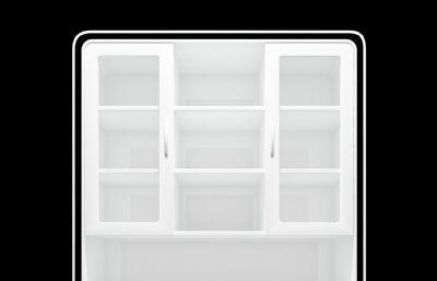 白色烤漆置物柜子,书架3D模型