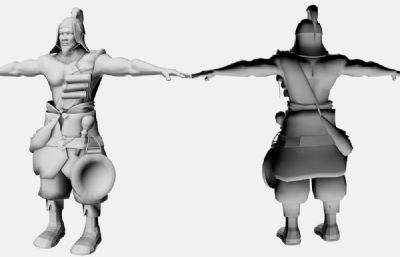 古代巡逻哨兵士兵maya模型