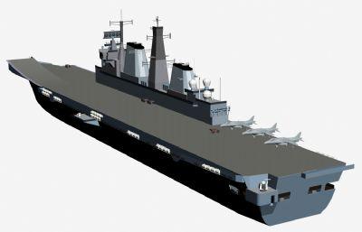 英��皇家海��o�程�航空母�3D模型
