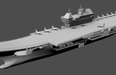 印度�S克�m特�航母maya模型白模
