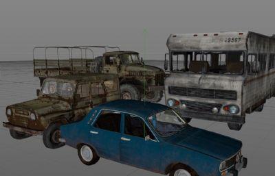 4辆绝地求生载具C4D模型,Dacia达契亚轿车,吉普,越野车,卡车,报废巴士,大巴车