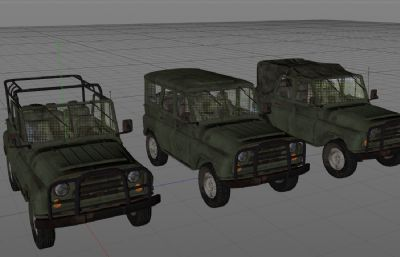 3種絕地求生吉普車C4D模型