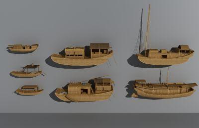 小船,木船,古代渔船 商船,货船3D模型