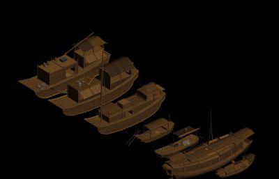 小船,木船,古代�O船 商船,�船3D模型