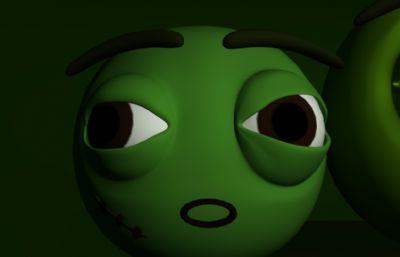 豌豆,卡通�人豆子maya模型