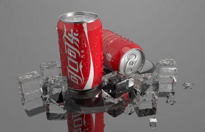 寫實冰塊+可口可樂易拉罐C4D模型,結構精細