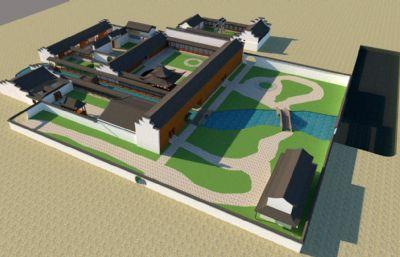 �K州�@林庭院建筑su模型