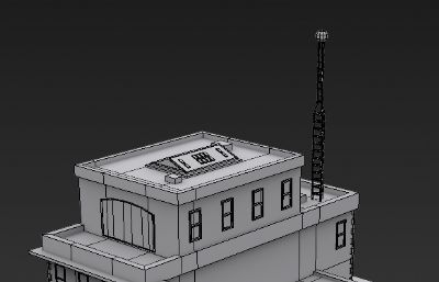 小型警察局3D模型低模