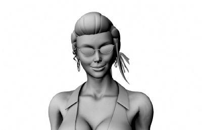 大波胸器戴墨�R的女教��上半身maya模型