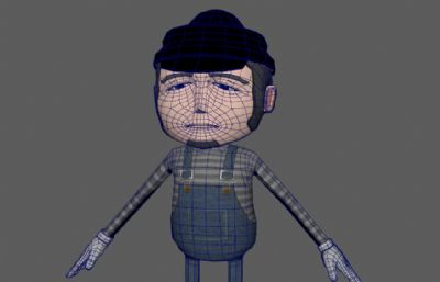 卡通戴帽子的男孩OBJ模型