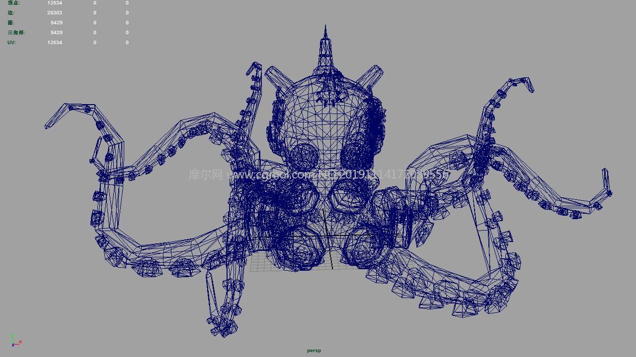 海底�M化�C械章�~生物maya2015模型,有�N�D