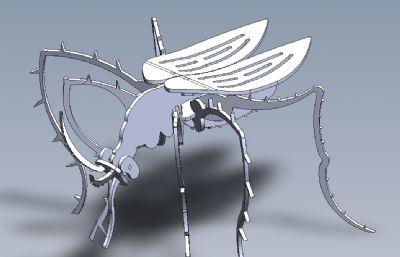 拼裝蚊子solidworks圖紙模型,還有STEP,STL等格式