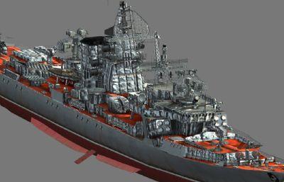 前�K�海�1134型���巡洋�3D模型,MAX,FBX�煞N格式