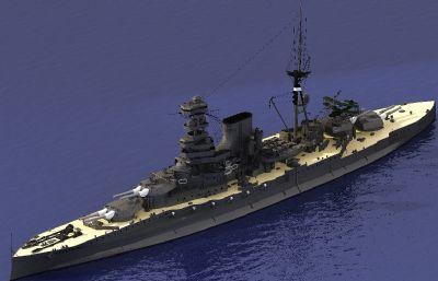 英��皇家海�巴勒姆��鹆信�3D模型