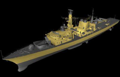 英国皇家海军23型护卫舰C4D模型,带3DS格式