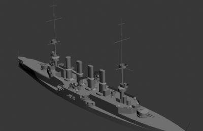 一�鸬��海�沙恩霍斯特��b甲巡洋�OBJ模型