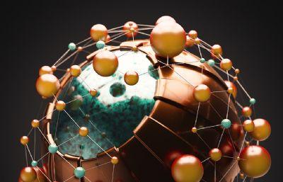 科幻节点圆球C4D模型