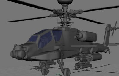 高模武�b直升�C,阿帕奇直升�Cmaya模型