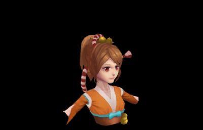 海�u女�T角色上半身3D模型
