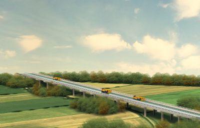 高架桥,高速路建设场景3D模型(极速渲染)