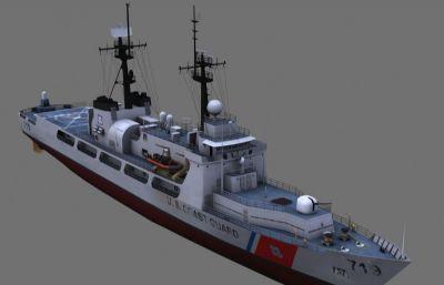 美��海岸警�l��h密���D�巡��3D模型,MAX,FBX,OBJ格式模型