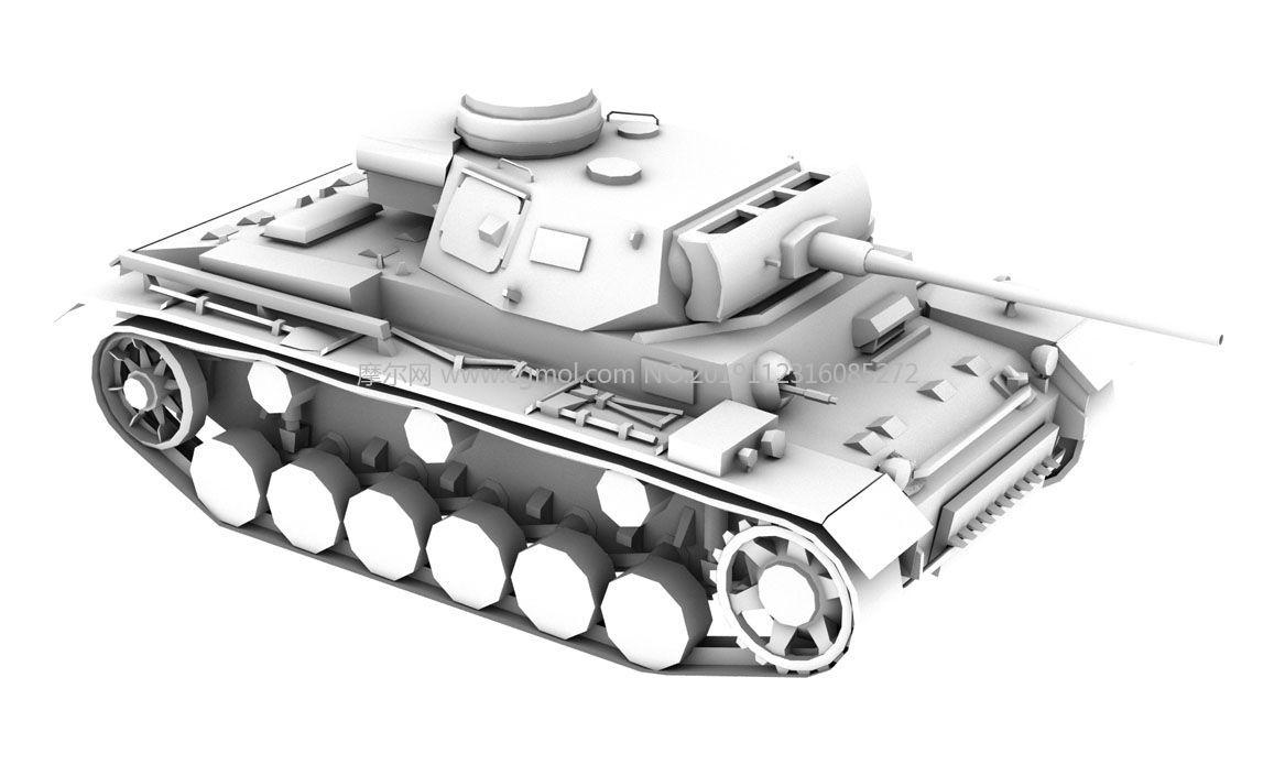 三�中型坦克3D模型白模