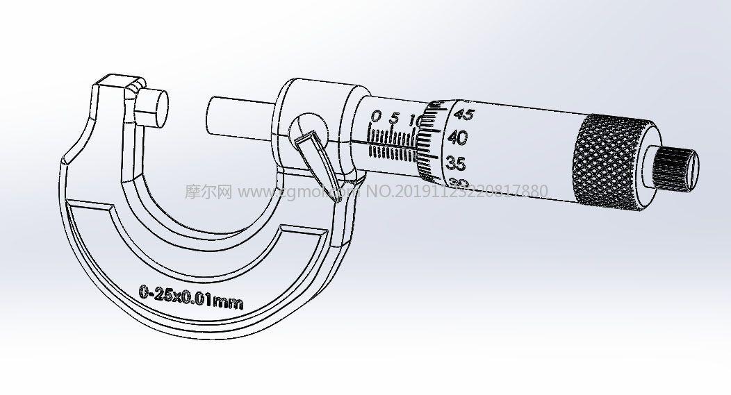 螺旋�y微器,千分尺(micrometer)STEP格式�D�模型