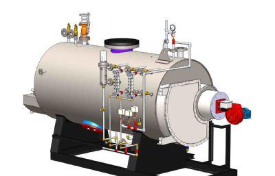 锅炉,热水锅炉STEP模型
